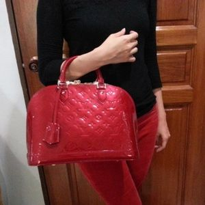 LOUIS VUITTON Vernis Alma PM Red with Gift Box